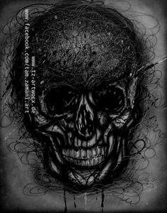 """""""Skull"""" by Tamzamani Größe: 80cm x 100cm auf Leinwand Material: Airbrush, Marker  Ort/Jahr: Bochum/2014"""
