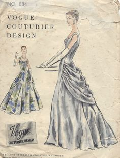 1955 Vintage Vogue Sewing Pattern B32 Dress Evening Gown 1151 | eBay