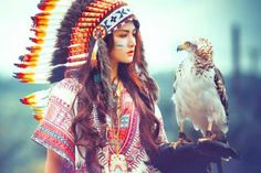 girl-wearing-indian-feather-head-dress-with-eagle2-1024x683