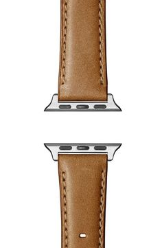 Expert craftsmanship distinguishes this hand-sewn leather strap that adds a timeless look to your Apple Watch. Style Name:Shinola Aniline Leather Apple Watch Strap. Style Number: Available in stores. Apple Watch Leather Strap, Shinola, Nordstrom Gifts, Luxury Branding, Watches For Men, Silver, Space, Hand Sewn, Grey