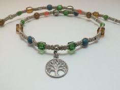 Tree of Life Mixed Bead Macrame Hemp Necklace (0180) by HemptressDesigns on Etsy