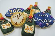 You will receive an assortment of one dozen New - Year's Eve inspired Cookies: Approximately 3x3 to 4 x 2 inch. each. IMPORTANT SHIPPING INFORMATION: If you would like to receive the cookies by New -