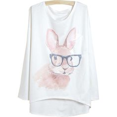 29,90EUR Hasenshirt Hase mit Brille Longsleeve weiss www.pinjafashion.com