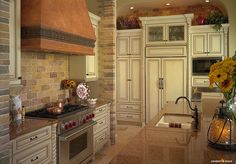 Kitchen, copper stove hood, white antique distressed cabinets