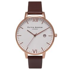 Olivia Burton's Timeless rose gold-plated watch is a functional timepiece with an understated elegance. With a less-is-more approach, this piece features a date window, Japanese quartz movement and a dusty pink leather strap. Brown Leather Strap Watch, White Leather, Asos, Pink Watch, Rose Watch, Topshop, Rose Gold Watches, White Watches, Pink Jewelry