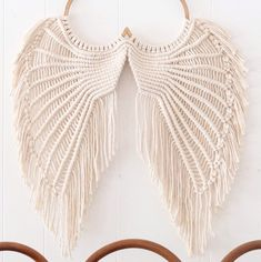 Angel Wings Macrame- Macrame Wallhanging- Angel Wings Wall Decor- Angel Wings Art- Macrame Wall Deco Source by etsy Diy Macrame Wall Hanging, Macrame Curtain, Macrame Art, Macrame Projects, Etsy Macrame, Macrame Mirror, Crochet Dreamcatcher, Micro Macrame, Angel Wings Art