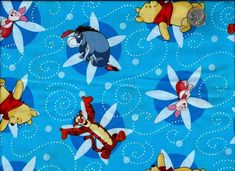 Cotton Quilt Fabric Pooh Swirls On Blue For Baby Quilts  - product image