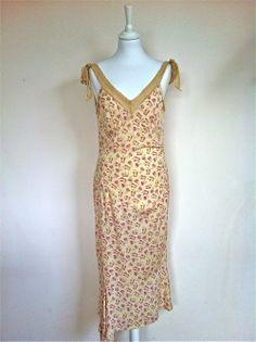 Diane Von Furstenberg Cream Silk Stretch Biais Cut Slip Dress via The Queen Bee. Click on the image to see more!