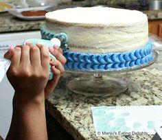 Manju's Eating Delights: Blue ombre White Cake, Gelatin bubbles and Buttercream Shells. Fondant Flower Cake, Cake Icing, Cupcake Cakes, Cupcakes, Fondant Rose, Fondant Baby, Fondant Cakes, Icing Tips, Frosting Tips