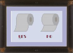 Toilet paper hanging protocol: funny cross-stitch pattern. $3.00, via Etsy.