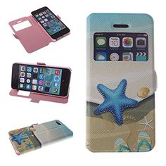 Big Dragonfly Iphone 5 5S Pu Leather Phone Case Cover with Starfish Slipper Shell Pattern & Built-in Stand & Magnetic Button & Transparent Time Window Viewer (Brown Blue) Big Dragonfly http://smile.amazon.com/dp/B00L8Q346M/ref=cm_sw_r_pi_dp_B2z0tb0S5S9KXEXB