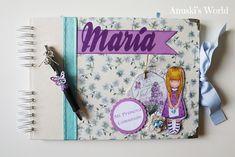 Libro de firmas de comunión personalizado para María con caja y boli a juego - Anuski´s World