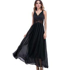 Ukraine Fashion V-neck Summer Sexy Dresses for Women Stitching Lace Hollow Out Black Maxi Dress Lady Beach Chiffon Vestidos S-XL