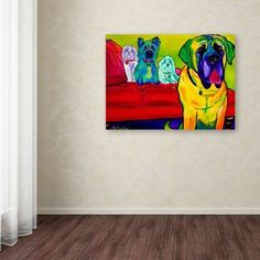 Trademark Fine Art Drooler Get The Floor Canvas Art by DawgArt, Size: 35 x 47, Multicolor
