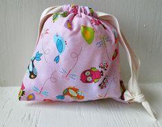 Pink Bird Owl Drawstring Bag Reusable Gift Bag by DivineLuluCreations, $7.00