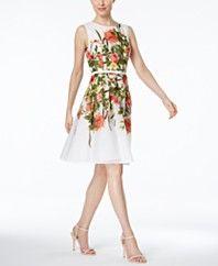 54889cdce1 Tommy Hilfiger Floral-Print Belted Fit   Flare Dress Vestidos De Moda Para  Mujer