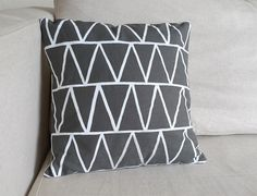 Stacked Triangles Pillow in Grey Linen by erindollar on Etsy, $40.00
