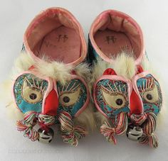 Vintage Chinese Embroidered Silk Childs' Shoes With Bells