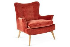 KIM SALMELA Sonja Chair, Burnt Orange Velvet