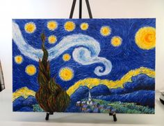 shopgoodwill.com - #39597037 - Unsigned Van Gogh Starry Night Inspired Painting - 5/19/2017 5:15:00 PM