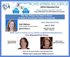 This week Gail Watson, WSA President joins Tracey Ehman and Mary Joyce as our special #SpeakerChat guest. On this #SpeakerChat, Gail will share some insightful information on building a successful online community. Not A WSA Member Yet? Click on Image to Activate Your Free Associate Membership