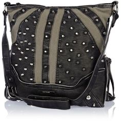 River Island Khaki contrast panel studded messenger bag ($46) found on Polyvore