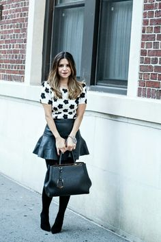 quirky print top with leather skirt and tights