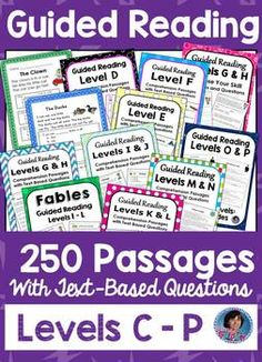 These Reading Comprehension Passages and Questions for Guided Reading Levels C through P are designed to help students learn to read carefully and to find evidence to support their answers to text-based questions. The increasing complexity of these passag Reading Comprehension Passages, Reading Fluency, Reading Intervention, Kindergarten Reading, Teaching Reading, Comprehension Activities, Reading Lessons, Reading Skills, Reading Strategies