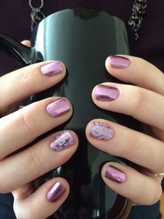 Orchid Glimmer with Chantilly Lace - LOVE! Nails Nail Art Jamberry jackiepowell.jamberrynails.net
