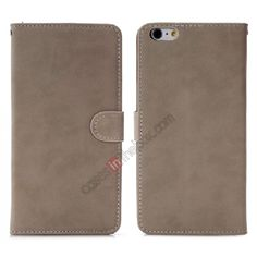 Retro Style Wallet Design Leather Case with Card Slot For iPhone 6 Plus 5.5inch - Grey US$10.99