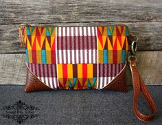 Aztec Wristlet / Clutch / Navajo / African fabric by SweetPeaTotes, $32.00
