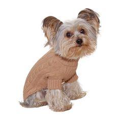 Size #14 (large) Designer Pet Clothes, Camel Turtleneck Dog Sweater, Classic Aran Knit