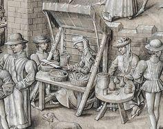 """BOTTEGA. Dettaglio tratto da: """"Scène de marché et présentation du manuscrit à Philippe le Bon"""". David Aubert, Conquestes et croniques de Charlemaine, volume 1. Pays-Bas méridionaux, vers 1458-1460; parchemin, 456 ff., 422 x 295 mm, 37 miniatures à mi-page, 5 miniatures de petit format Bruxelles, Bibliothèque royale de Belgique, KBR, ms. 9066, f. 11; © Bibliothèque royale de Belgique. Source: http://expositions.bnf.fr/flamands/grand/kbr_9066_011.htm"""