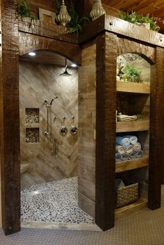 bathroom remodel before and after * bathroom remodel ; bathroom remodel on a budget ; bathroom remodel before and after ; bathroom remodel with tub Dream Bathrooms, Beautiful Bathrooms, Log Cabin Bathrooms, Chic Bathrooms, Rustic Bathroom Designs, Shower Designs, Small Rustic Bathrooms, Rustic Master Bathroom, Tuscan Bathroom