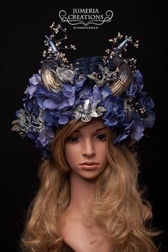 Ready to Ship beautiful Wedding Burlesque Angel Blue and silver Headdress Flower Trim Faux Horns Headpiece
