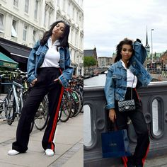 Get this look: http://lb.nu/look/8379755  More looks by Daphne  Blunt: http://lb.nu/tostylewithlove  Items in this look:  Zara Striped Side Trouser Joggers, Adidas Side Striped Sneakers, Zara White Zipper Blouse, Chanel Black Mini Flap Bag, Levis Denim Jacket   #chic #classic #sporty #copenhagen #denmark #travel #blogger #losangeles #zara