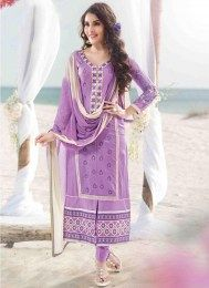 Design and style and pattern will be at the peak of your splendor after you dresses this wisteria satin unstitched salwar kameez. The lovely butta work & lace work a substantial attribute of this attire. Salwar Kameez Online Shopping, Latest Salwar Kameez, Indian Salwar Kameez, Churidar, Lehenga Choli, Anarkali, Achkan, Designer Salwar Suits, Designer Dresses