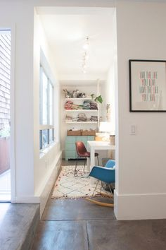home office in narrow space.  Eclectic Home Office by Le Michelle Nguyen