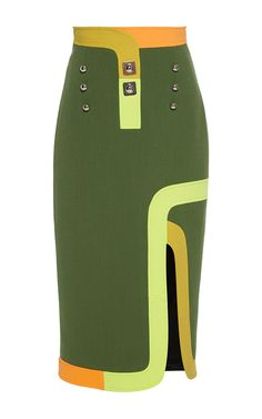 Neon Olive Track Skirt by Peter Pilotto for Preorder on Moda Operandi