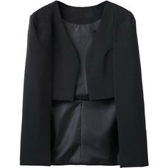 Black Collarless Cape Style Crop Blazer ($45) ❤ liked on Polyvore featuring outerwear, jackets, blazers, stretch blazer, collarless blazer, cropped blazer, cape coat and cropped blazer jacket