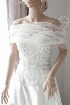 Bridal Wrap, Wedding Cover Up, Wedding Shrug, Bridal Bolero in silk tulle white or ivory bridal shawl. Can be worn two ways! Wedding Dress Topper, Wrap Wedding Dress, Wedding Shrug, Bridal Bolero, Wedding Cape, Tulle Wedding, Wedding Attire, One Shoulder Wedding Dress, Wedding Dresses