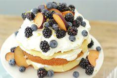 Vanilla Pound Cake with Lemon Curd Creme, Blackberries, Blue Berries & Black Plums