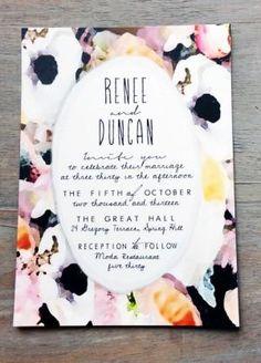 Renee + Duncan's Bold Floral Watercolor Wedding Invitations