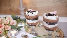 Treat your sweetie to no-bake chocolate trifles spiked with Baileys for a perfect end to a romantic meal