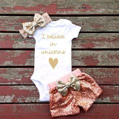 Believe In Unicorns Bodysuit, Baby, Baby Girl, Toddler, Baby Shower Gift, Magic, Faries, Fairy Tale, Love, Glitter, Listing Is For Bodysuit
