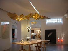 Ingo Maurer Golden Ribbon — Light My Nest Interior Lighting, Lighting Design, Ingo Maurer, Concrete Lamp, Organic Shapes, Townhouse, Light Fixtures, Living Spaces, Chandelier