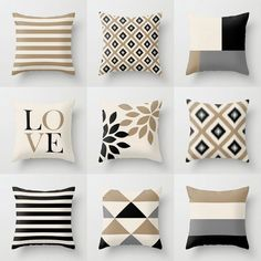 Neutral Throw Pillow Covers Taupe Beige Black by HLBhomedesigns