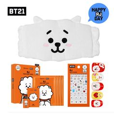 742eebd7cf55  BTS BT21  Bangtan RJ DAY Cleansing Hair Band   Face Point Mask   Nail  Sticker
