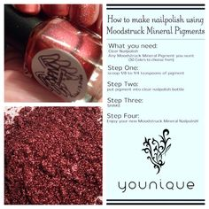 Did you know you can create your very own nail polish using Younique pigments? Customize your own color schemes following these easy steps!  www.youniqueproducts.com/JennKnecht