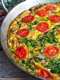 Frittata med spinat, tomater og ost Frittata, Tex Mex, Mozzarella, Tapas, Eggs, Snacks, Breakfast, Food, Spinach